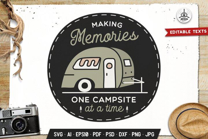 Camping Memories Badge Vector Retro Graphic Logo SVG PNG example