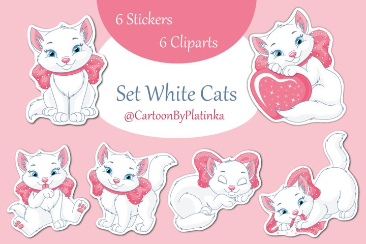 White Cat with pink bow. Set of stickers and cliparts