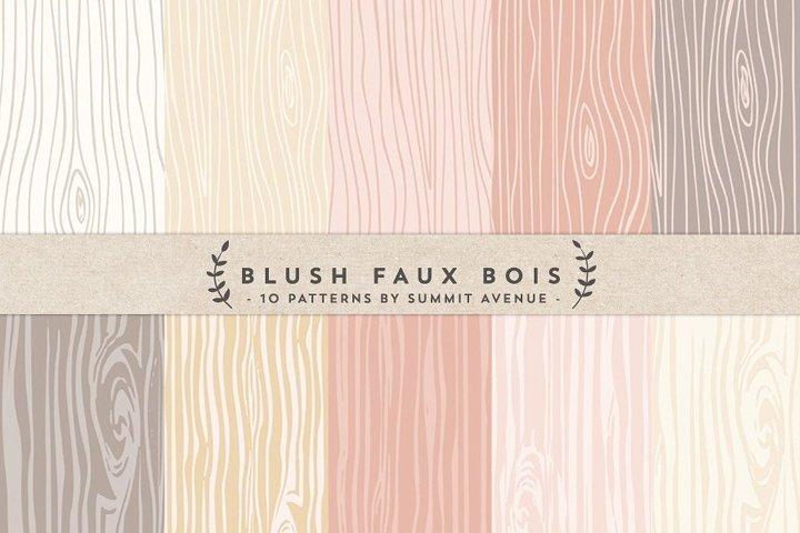 Blush Faux Bois Woodgrain Digital Papers & Textures