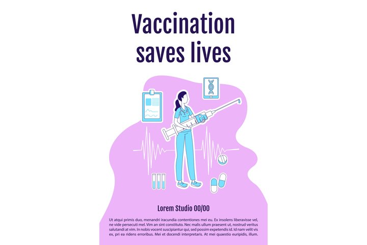 Vaccination saves lives poster silhouette vector template