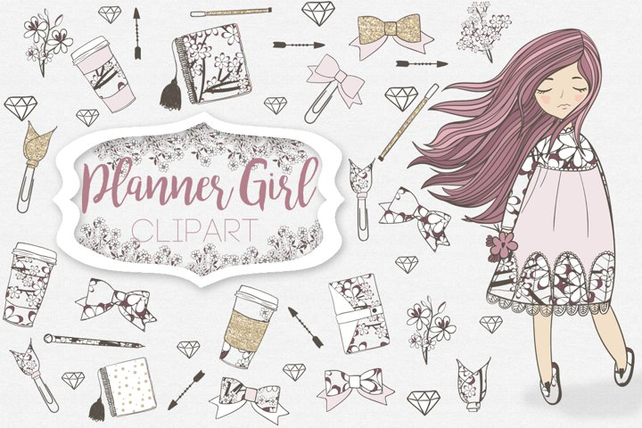 Planner Girl Clipart - Free Design of The Week Font