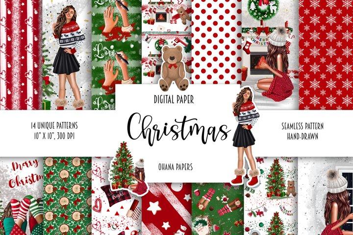 CHRISTMAS Digital Paper Pack, Winter Seamless Pattern
