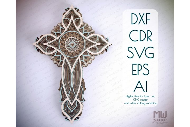 Cr23 - Religious Cross, Layered Cross DXF pattern, Cross SVG