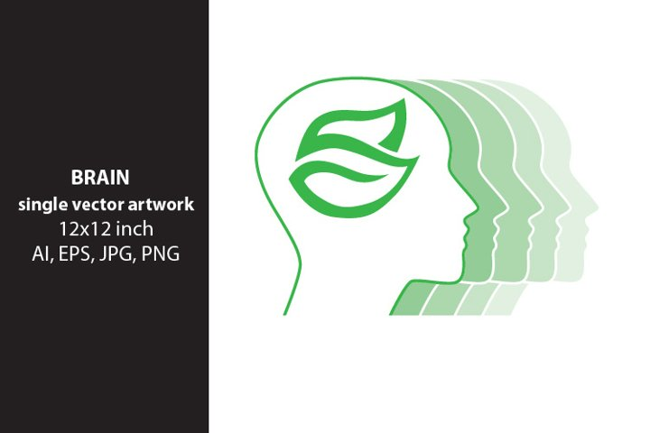 brain and leaves, vector