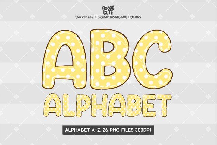 Yellow Pastel Polkadot Doodle Alphabet - Sublimation PNG