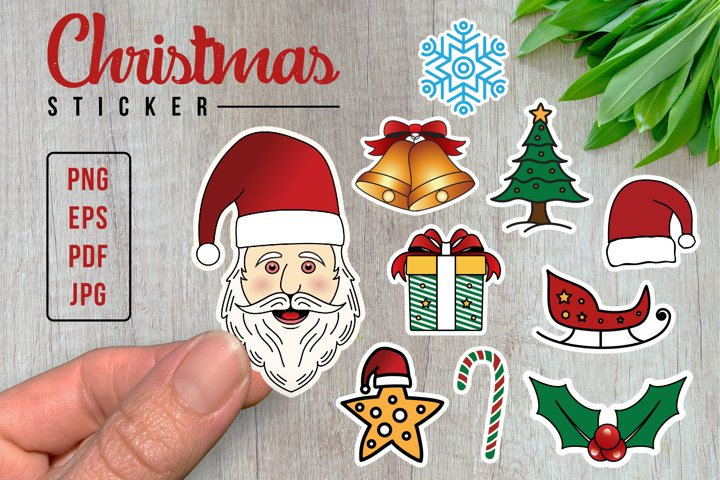 Christmas Stickers, Clip Art, Print And Cut, 300 DPI PNG