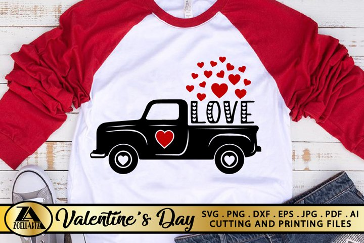 Valentines Day Truck with Hearts SVG Love Truck SVG Cut file