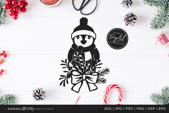 Christmas Penguin - SVG DXF PNG EPS JPG PDF Paper Cutting