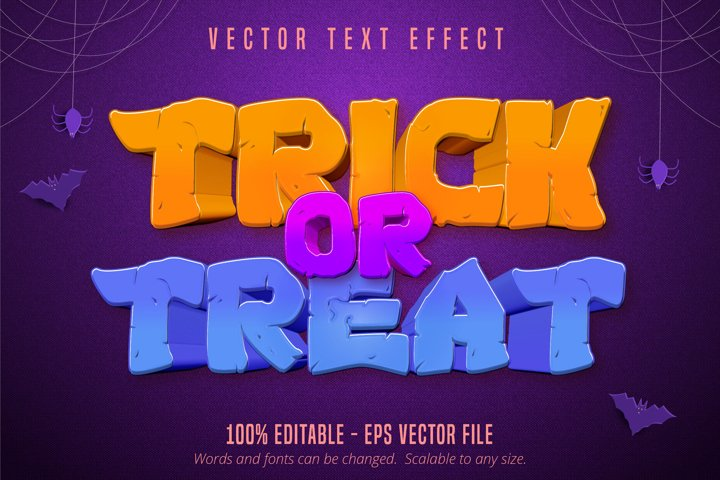 Trick or treat text, halloween style editable text effect