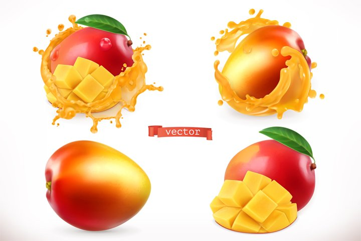 Mango, whole and slices, vector set