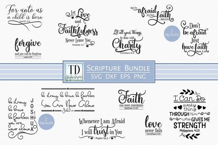SVG Scripture Bundle, Bible Verse Print and Cutting Files