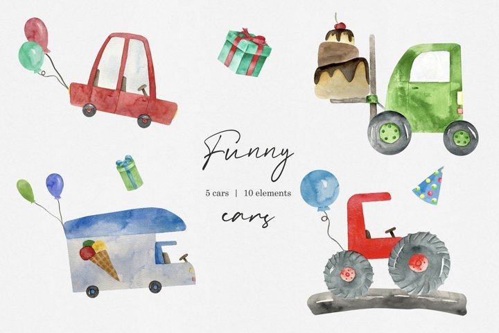 Watercolor Funny Cars Clipart