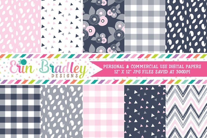 Navy Gray Pink Digital Paper Pack