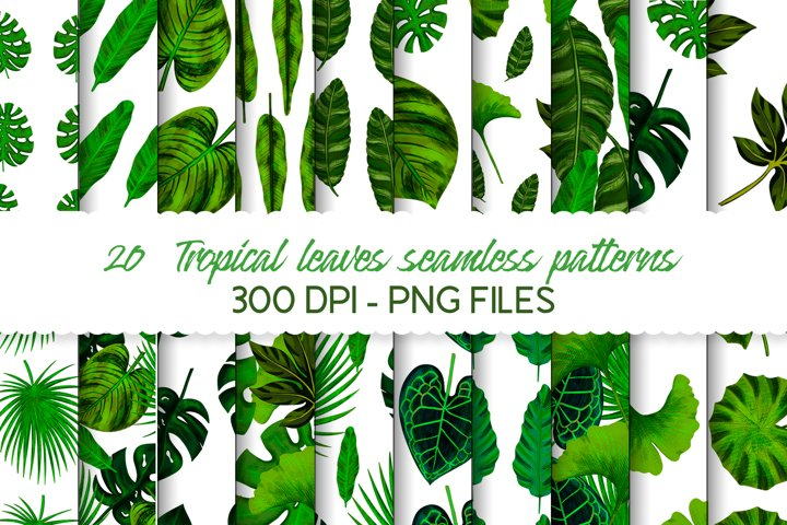 Hand drawn tropical leaves seamless pattern set