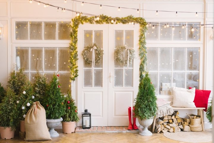 Christmas doors at the entrance to the house