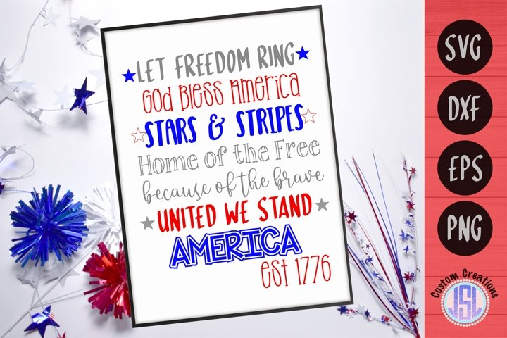 Patriotic Quote | Let Freedom Ring | SVG EPS DXF PNG