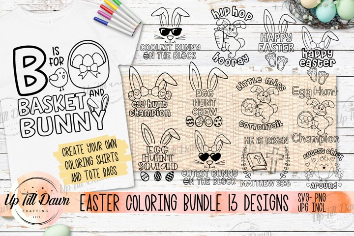 Easter Coloring Bundle SVG, Easter SVG Bundle, Easter Basket