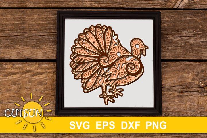 3D Layered Turkey Mandala SVG - 5 layers