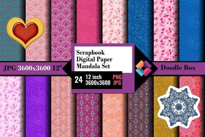 Scrapbook Digital Paper Mandala Set