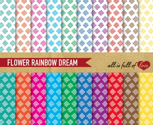 Floral Digital Paper in Rainbow Colors Hand Draw Background Patterns