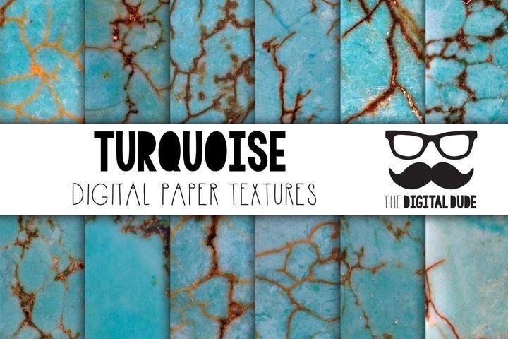 Turquoise - Digital Papers Set of 12 Images plus 2 BONUS