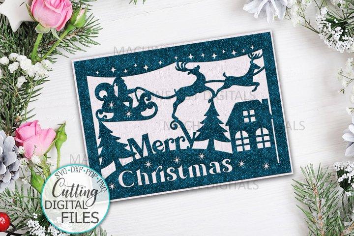 Merry Christmas card with Santa papercut laser cut svg