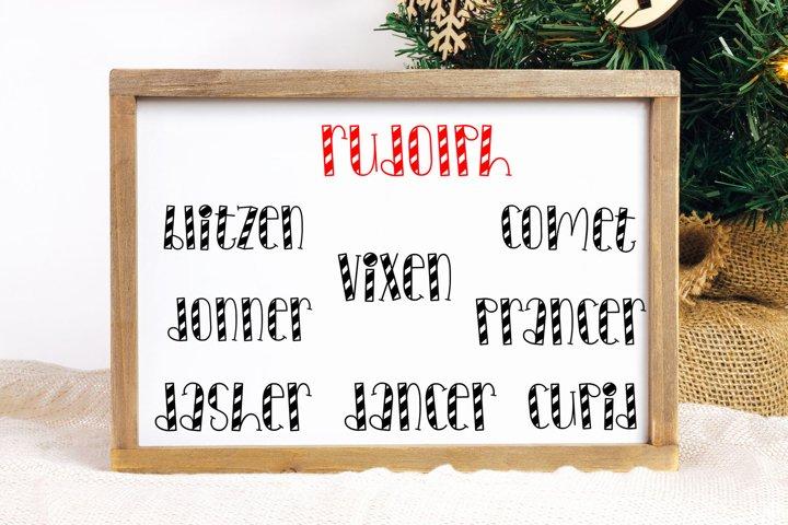 Santas Reindeer Names Cut File BUNDLE- SVG & PNG