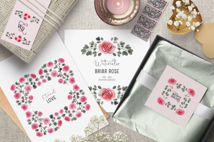 Pink watercolor clipart with roses | Vintage flower clipart