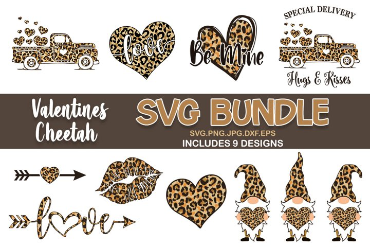 Valentines day cheetah print svg bundle, Valentines SVG