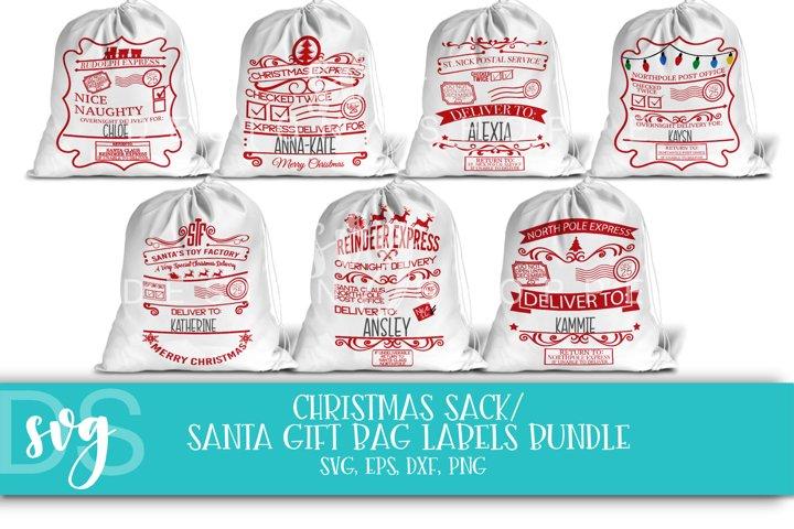 Christmas, Santa, Gift Bag Labels, Sack, SVG, EPS, PNG, DXF