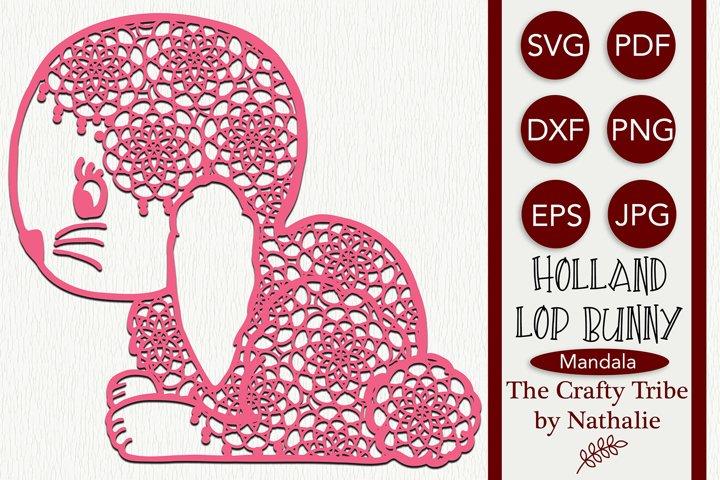 Mandala Holland Lop Bunny Rabbit SVG Cut File Coloring Stamp