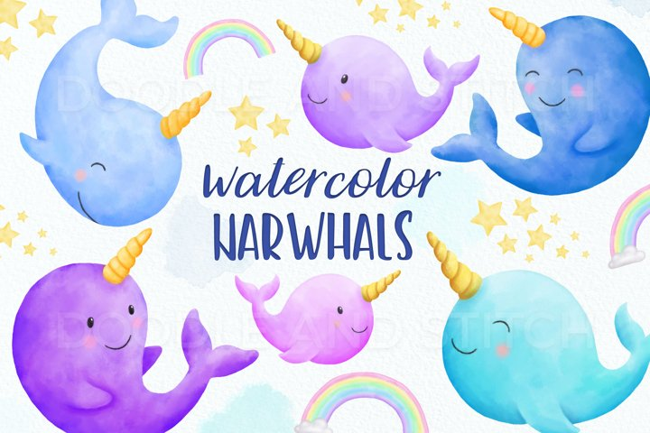 Cute Narwhal Watercolor Clipart Illustrations