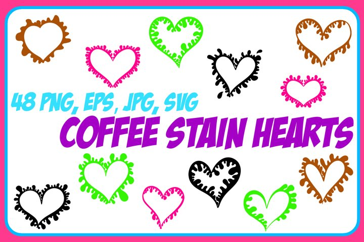 Coffee Cup Stain Drips Hearts Collection ESP, JPG, PNG, SVG