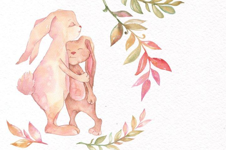 Watercolor Bunny Clipart example 6