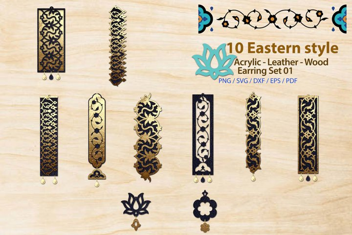 Eastern style Acrylic Leather Wood Earring Bundle 01