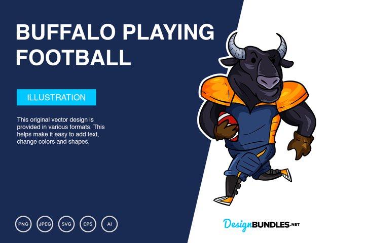 Buffalo Playing Football Vector Illustration
