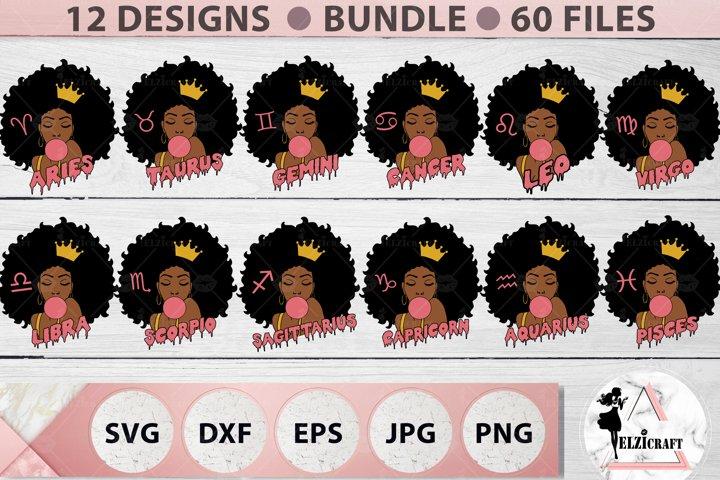 BUNDLE Zodiac, Afro Woman, Melanin Poppin, SVG File