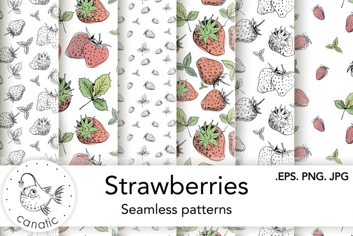 Seamless patterns with strawberry. EPS/PNG/JPG