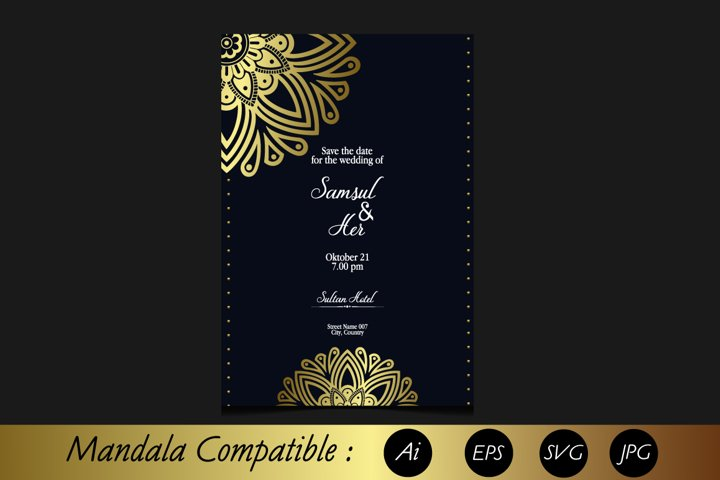 Wedding invitation template, Mandala invitation SVG