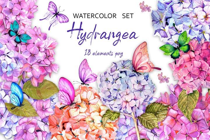Hydrangea garden watercolor clipart