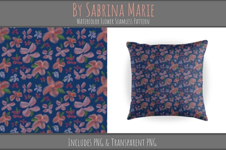 Watercolor Flower Seamless Pattern   Repeating Pattern