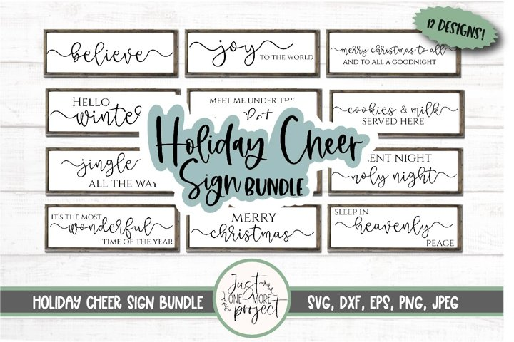 Holiday Cheer Sign Bundle, Christmas Wall Decor, 12 designs