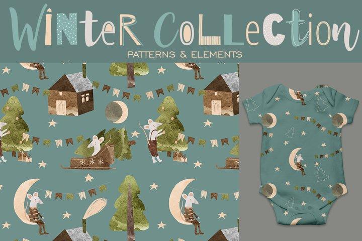 Winter Watercolor Patterns