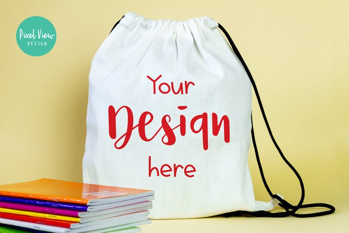 Drawstring Bag Mockup I Back to School
