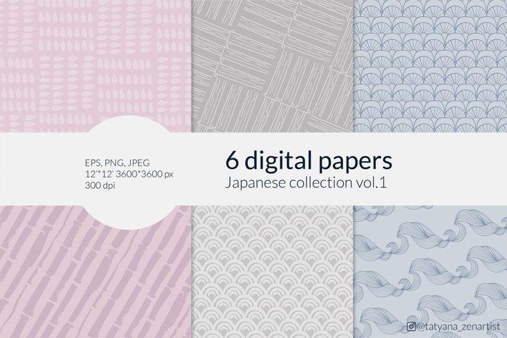 Japanese digital paper Collection, digital backround set
