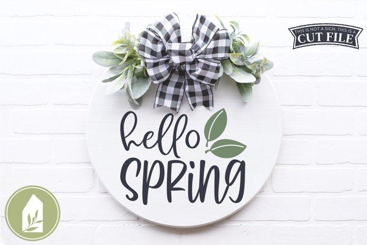 Hello Spring SVG Files, Round Sign SVG