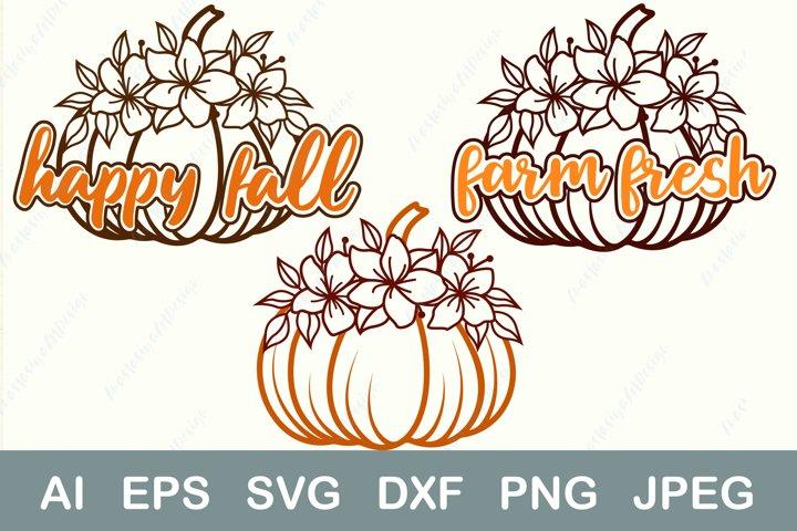 Happy fall sgv, Pumpkin monogram, Autumn thanksgiving dxf