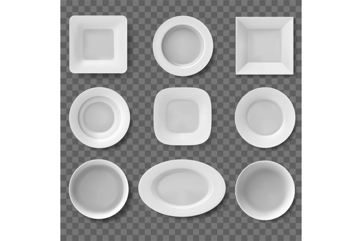 Realistic plates. Food dish, empty clean bowl, kitchen utens