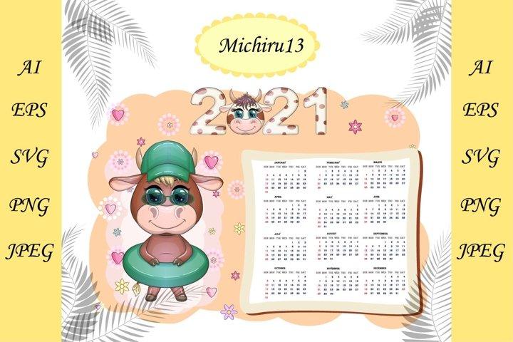 Calendar 2021 with kawaii cartoon bull
