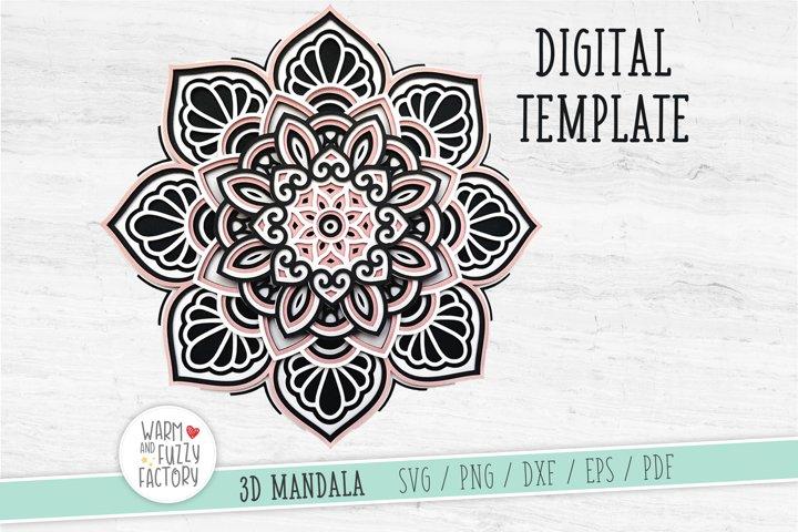 3D Mandala SVG, 3D Layered Mandala SVG | CUT FILE
